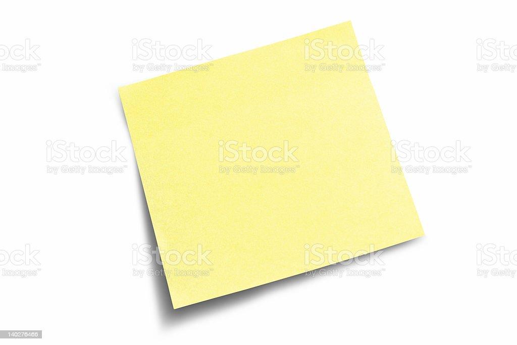 Yellow sticky note lifted at the bottom left corner royalty-free stock photo
