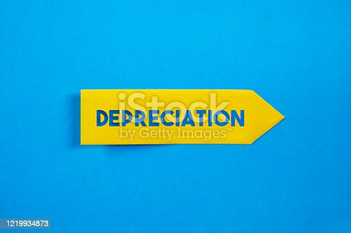 Yellow Sticky Note Paper With Depreciation Text. Business finance terms concept. Horizontal composition with copy space.