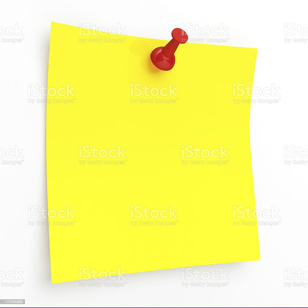 3D Yellow Sticky Note royalty-free stock photo