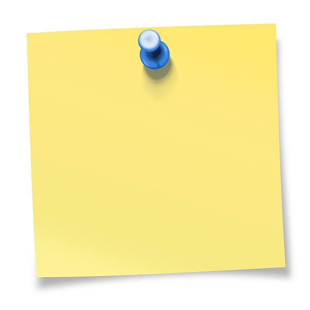 Amarela nota adesiva presa com Azul Tachinha - foto de acervo