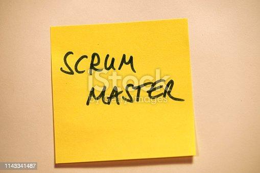 istock Yellow Sticky Note Scrum Master 1143341487