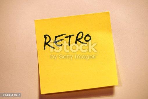 istock Yellow Sticky Note Scrum Retro 1143341518