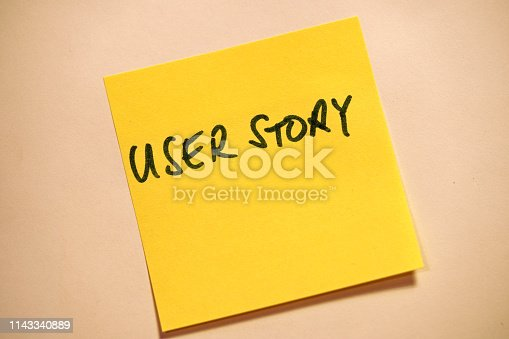 istock Yellow Sticky Note Scrum User Story 1143340889