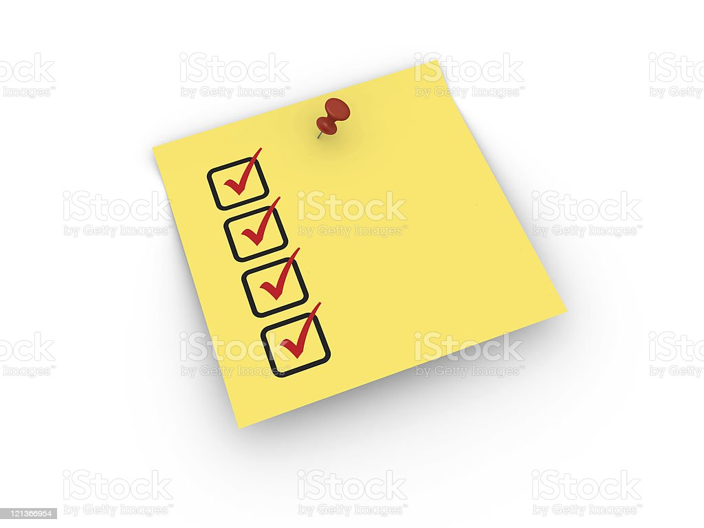 Yellow Sticky Note with Check List royalty-free stock photo