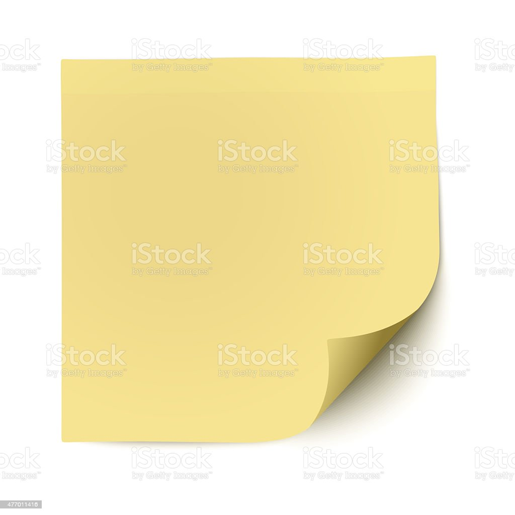 Yellow sticky note with deflected corner isolated on white stock photo