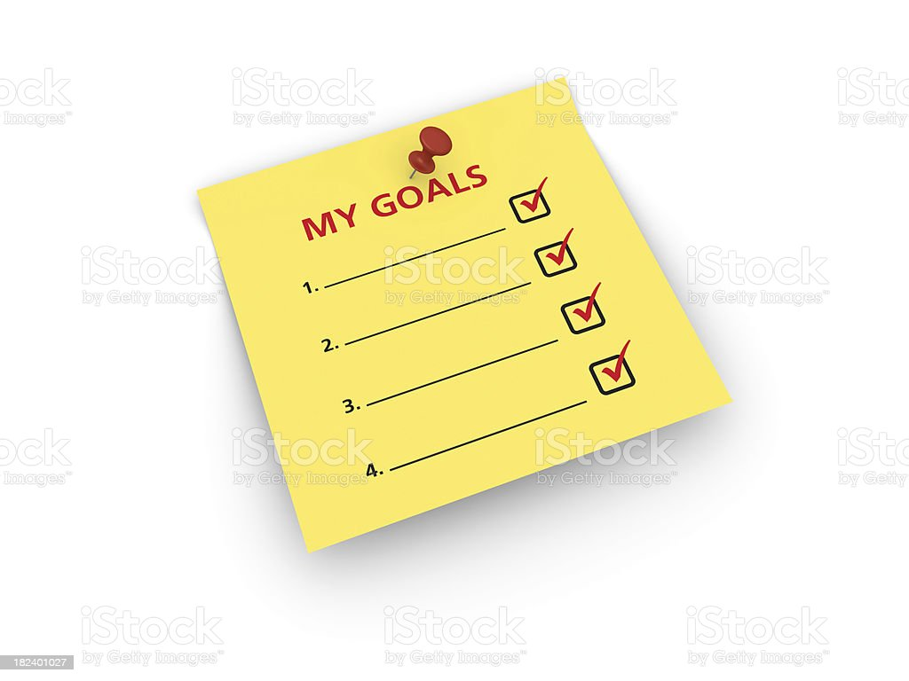 Yellow Sticky Note with Goal List royalty-free stock photo