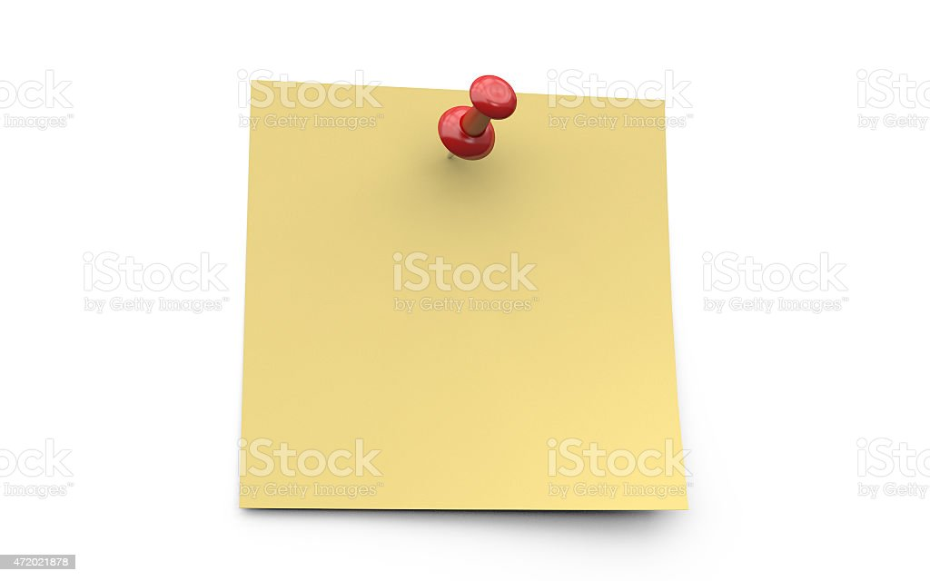Yellow sticky note with red pin stock photo
