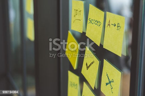 istock yellow sticky note with text on success and right and wrong sign stuck on glass wall. 936194994