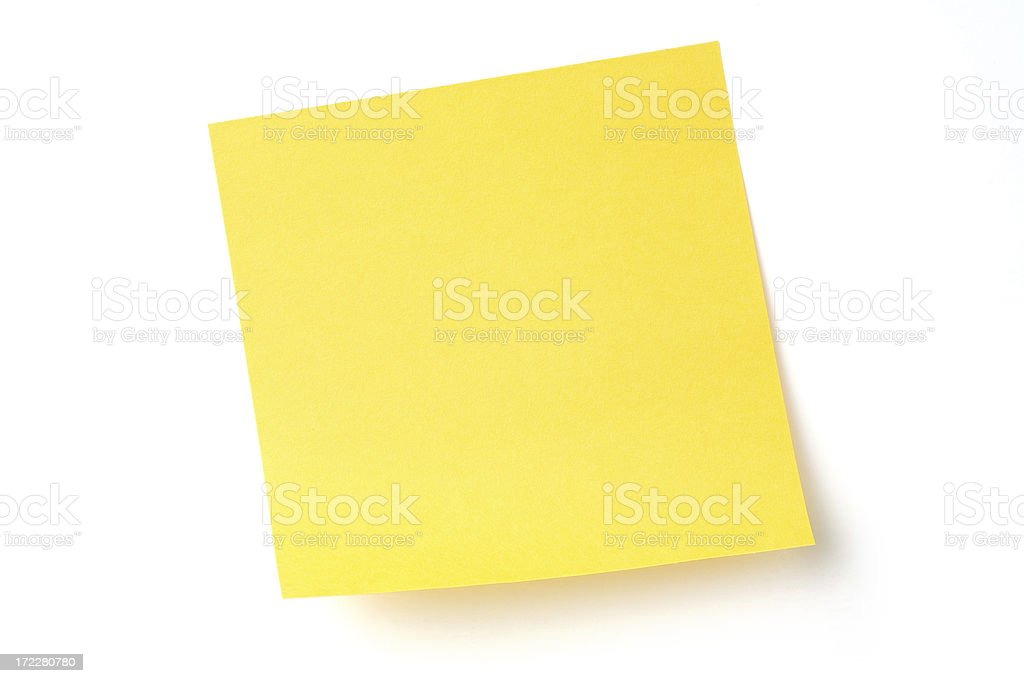 A yellow sticky note with white background  royalty-free stock photo