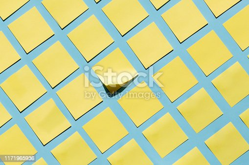 Yellow sticky notes on blue background