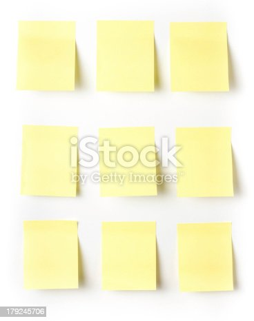istock Yellow Sticky reminder note waiting for your message. 179245706