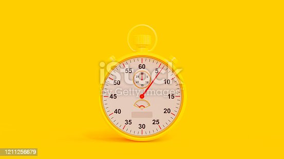 Yellow Stopwatch on Yellow Background. Clipping path and copy space for your text. Minimal idea concept, 3D Render.