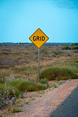 Yellow Street Grid street sign in West Australia