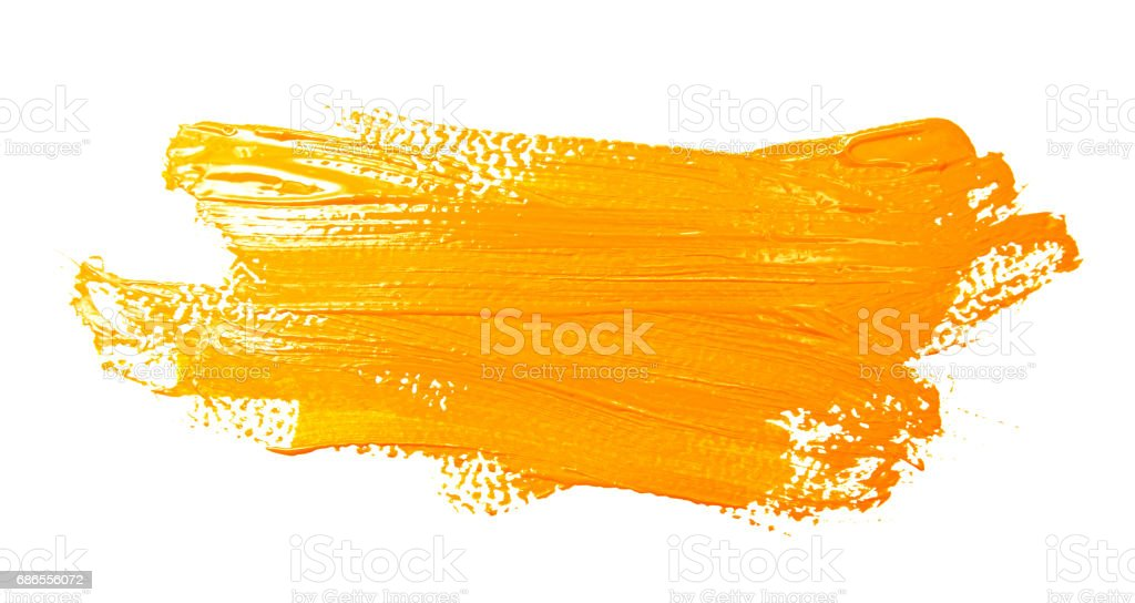 Yellow strokes of the paint brush isolated stock photo