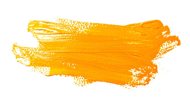 yellow strokes of the paint brush isolated - paintbrush stock photos and pictures
