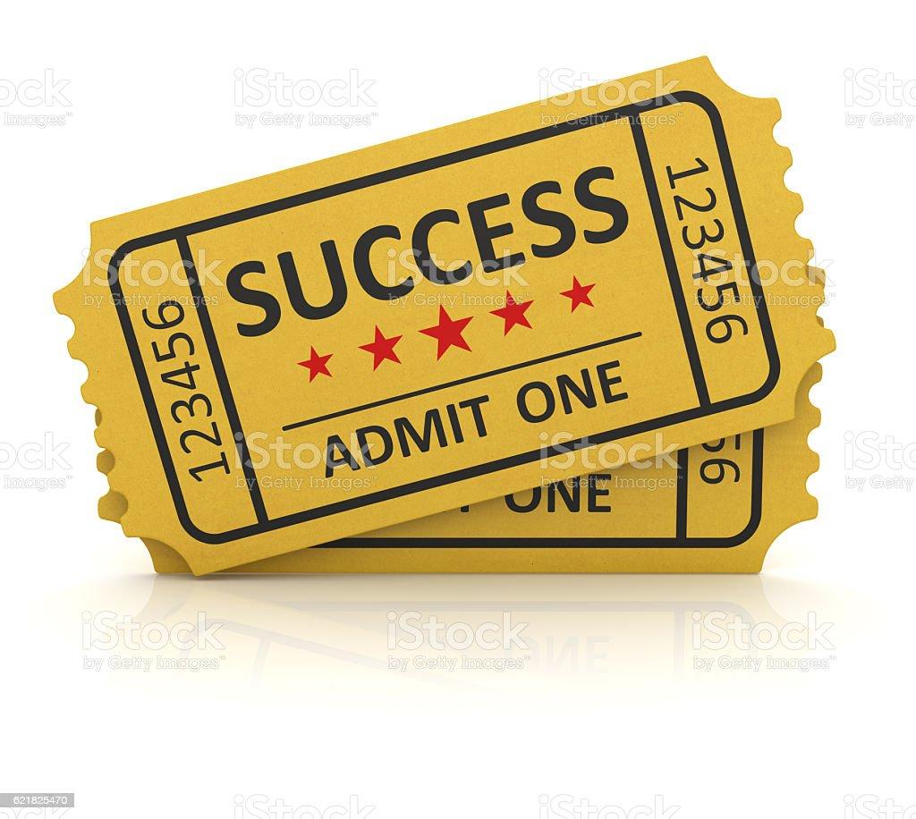 Yellow success ticket stock photo
