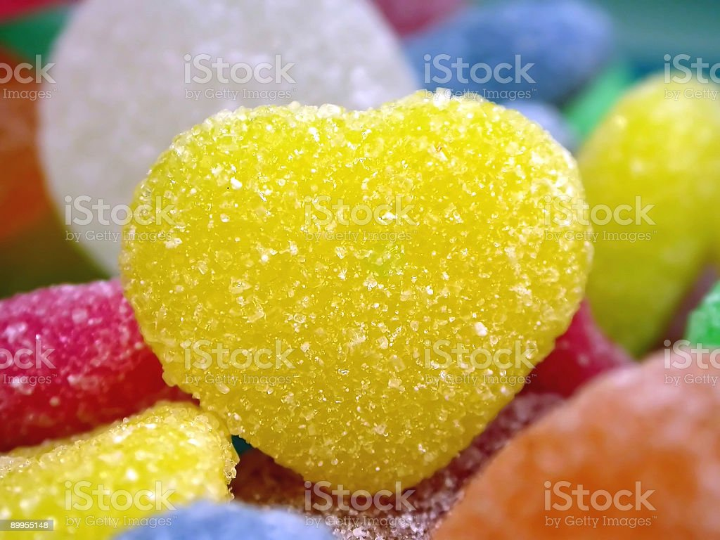 yellow sugar heart royalty-free stock photo