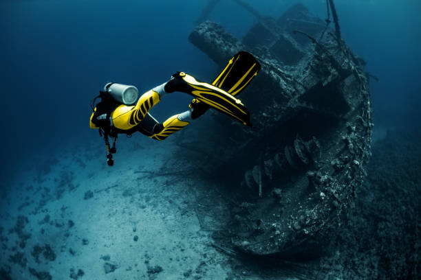 Yellow suited scuba diver exploring an overgrown shipwreck under the Red Sea Yellow suited scuba diver exploring a large overgrown shipwreck under the Red Sea. underwater diving stock pictures, royalty-free photos & images