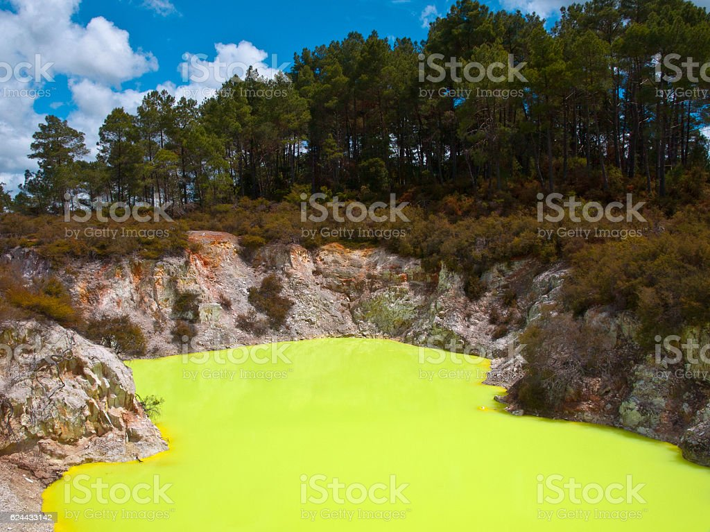 Yellow sulfur pool stock photo