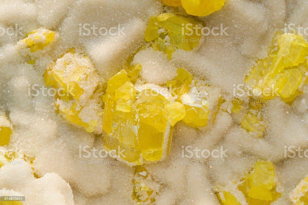 Yellow sulphur on aragonite from Sicily. stock photo