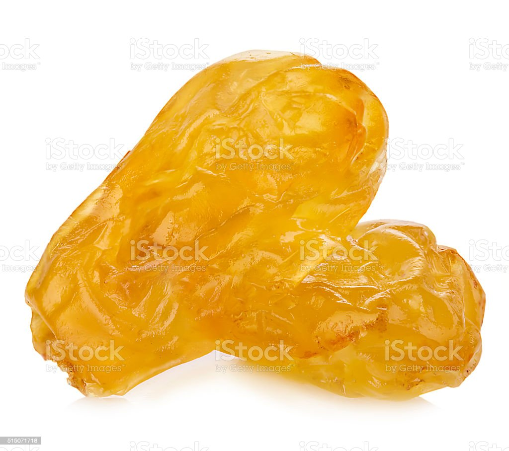 Yellow sultanas raisins close-up isolated on a white background. stock photo