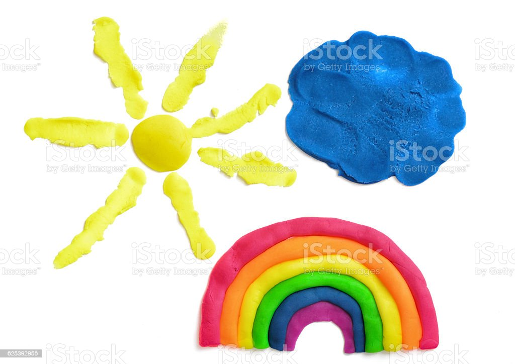 Yellow sun, blue cloud and rainbow made of plasticine, isolated stock photo