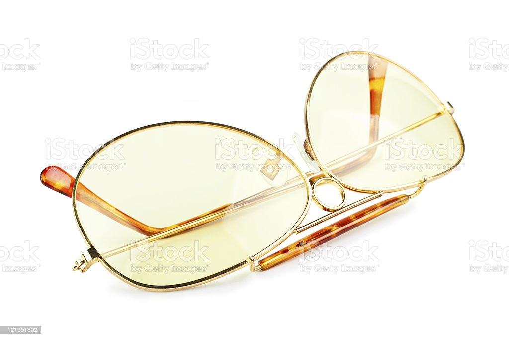 yellow sunglasses isolated on white background royalty-free stock photo