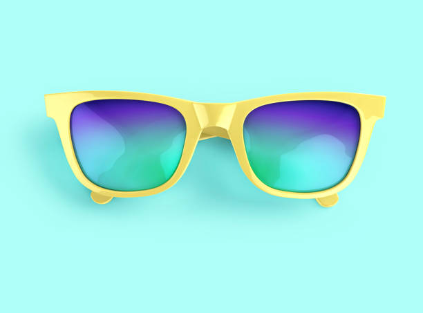Yellow sunglasses with multicolor lenses stock photo