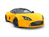 Sport or race car icon. Side view. Luxury vehicle silhouette. Vector illustration.