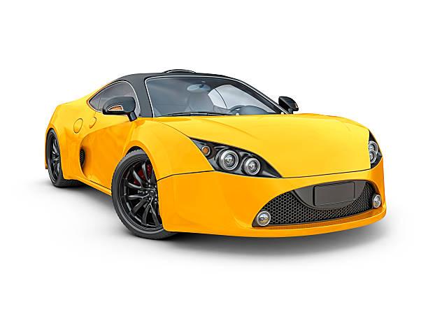 yellow supercar stock photo