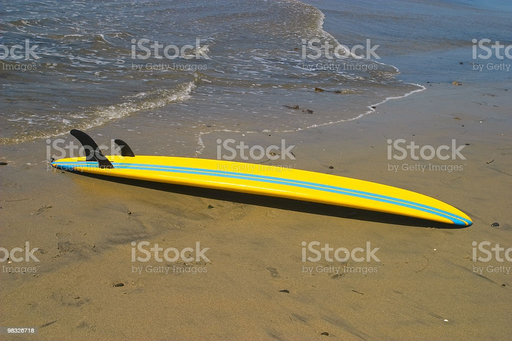 Yellow Surfboard on Beach, Summer, Water Sport,  Long Board, Sand royalty-free stock photo