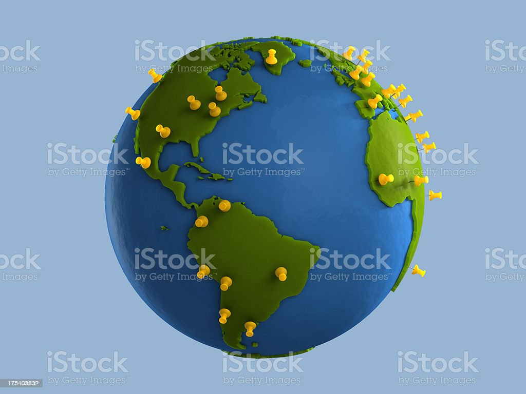 Yellow Tacks Indicate Major Cities on Clay Globe (America) stock photo