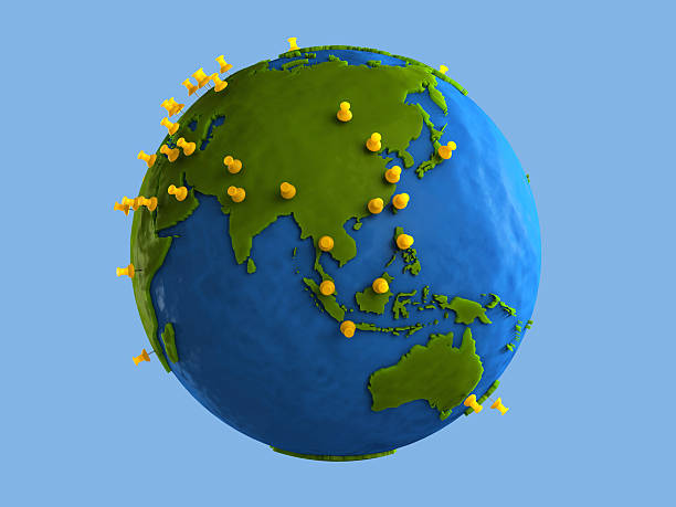 Yellow Tacks Indicate Major Cities on Clay Globe (Asia) stock photo