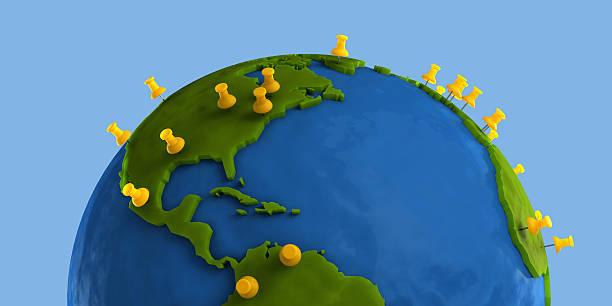 Yellow Tacks Indicate Major City on Clay Globe stock photo