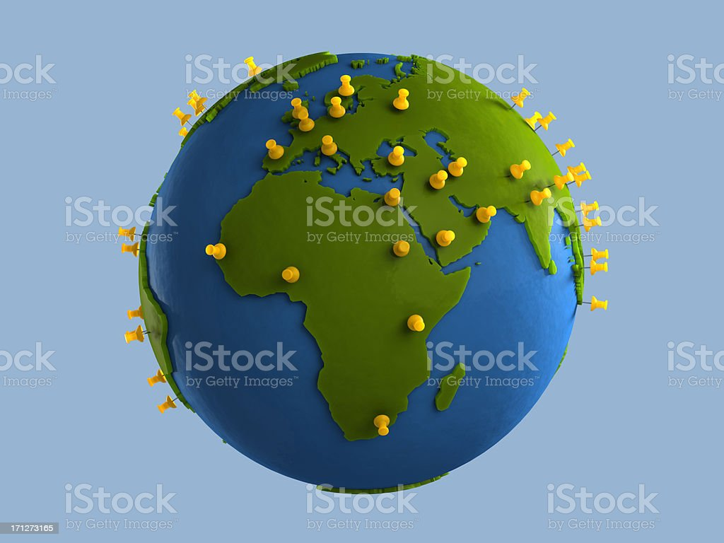 Yellow Tacks on Globe (Africa) stock photo