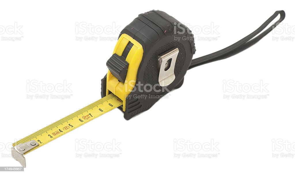 yellow tape measure on white background - gelbes Metermaß stock photo