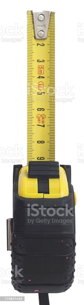 yellow tape measure on white background stock photo