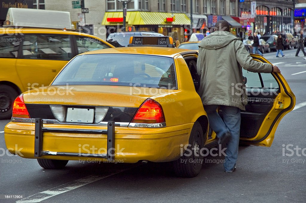 Yellow Taxi Cabs in New York royalty-free stock photo