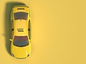 istock Yellow taxi car on a yellow background with free space for text or logo. 1073010264