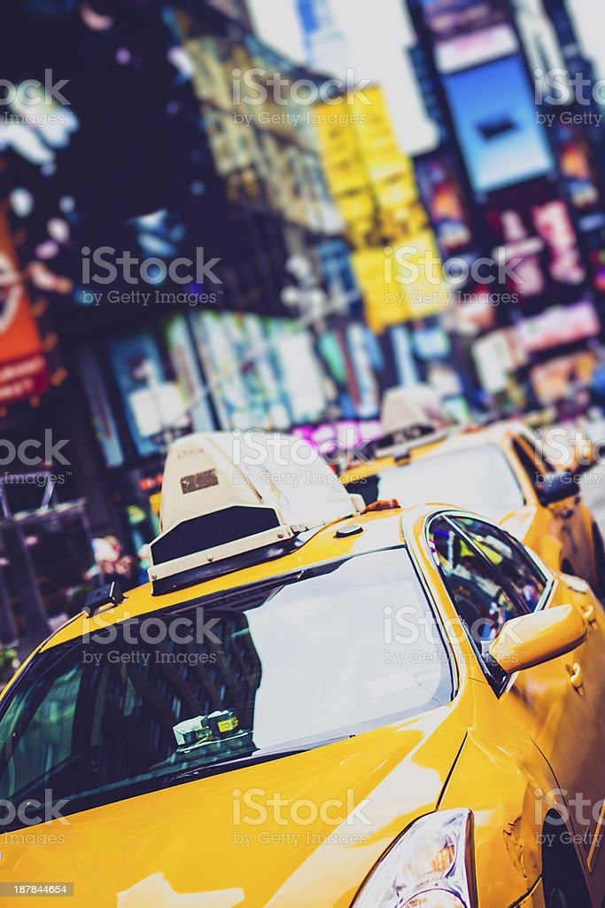 Yellow Taxi in Times Square, New York City royalty-free stock photo