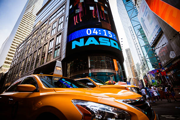 Yellow Taxi in Times Square of New York City, Manhattan stock photo