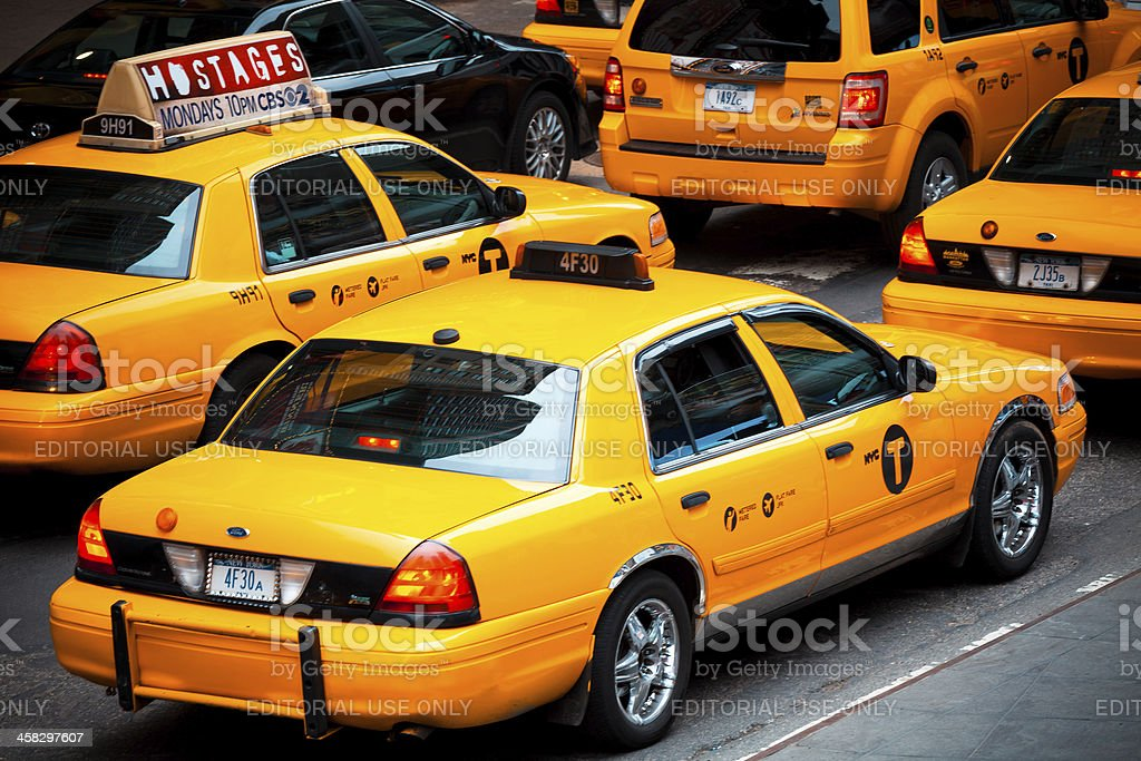 Yellow Taxi in Times Square of New York City, Manhattan royalty-free stock photo
