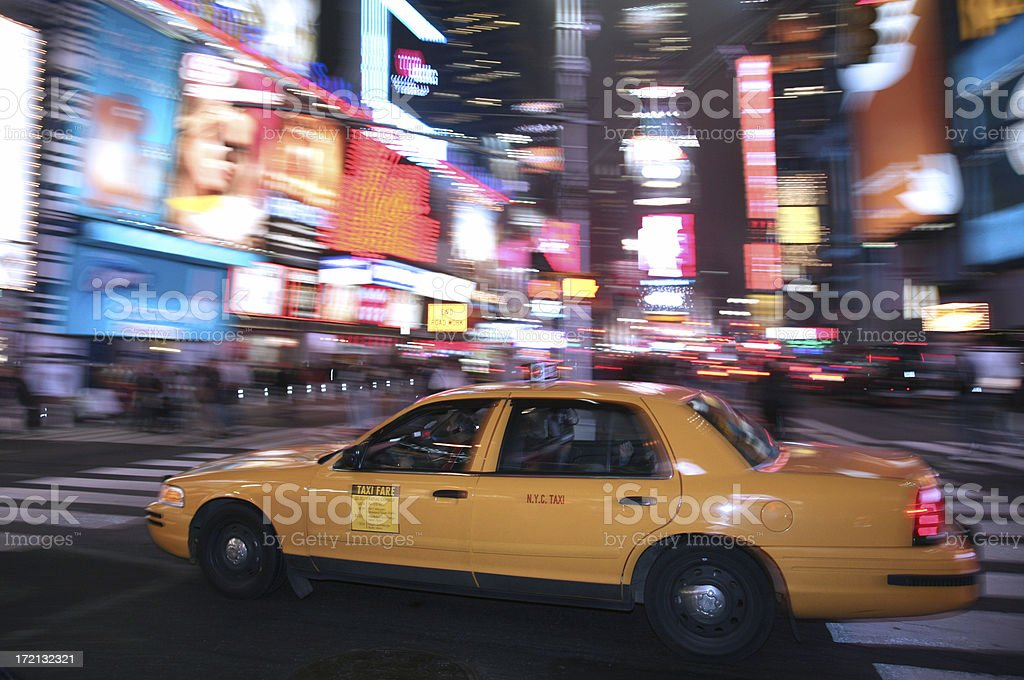 Yellow Taxi In Times Square royalty-free stock photo