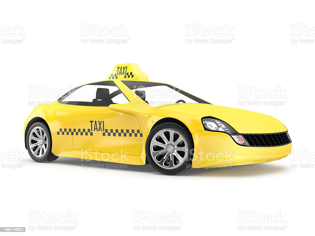 Yellow taxi isolated on white background stock photo