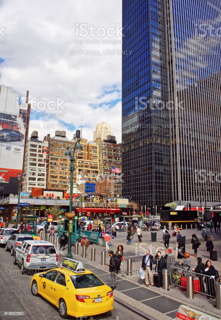 Yellow taxi on 7th Avenue Broadway Times Square NYC USA stock photo