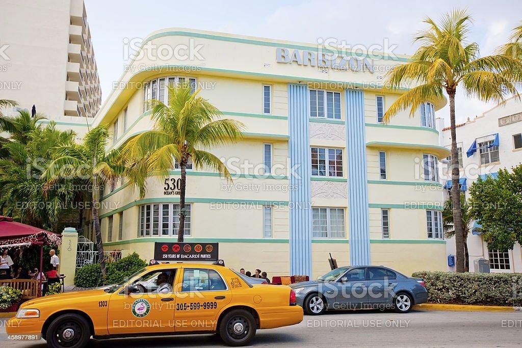 Yellow Taxi on Ocean Drive, Miami Beach, USA royalty-free stock photo