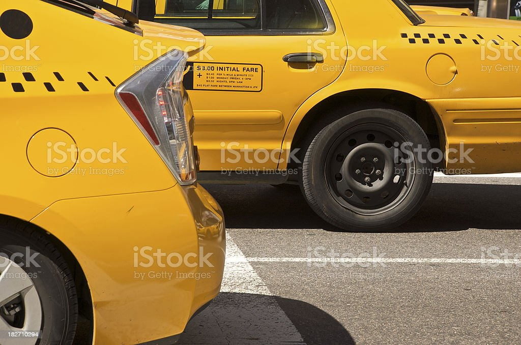 Yellow taxis in abstract royalty-free stock photo