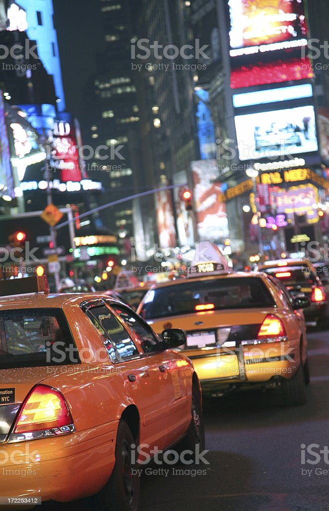 Yellow Taxis In Times Square, Selective Focus royalty-free stock photo