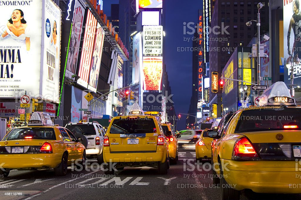 Yellow taxis in traffic, Time Square, New York City royalty-free stock photo
