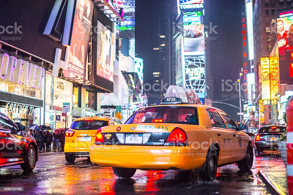 Yellow taxis on Times Square, New York stock photo